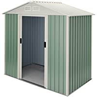 Hoggar by Okoru Caseta metálica Verde/Beige para Almacenamiento 2,43 m2 201x121x176cm. Cobertizo Jardin