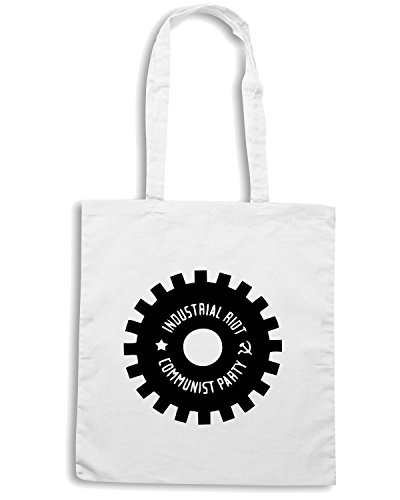 T-Shirtshock - Borsa Shopping TCO0119 industrial riot communist party Bianco
