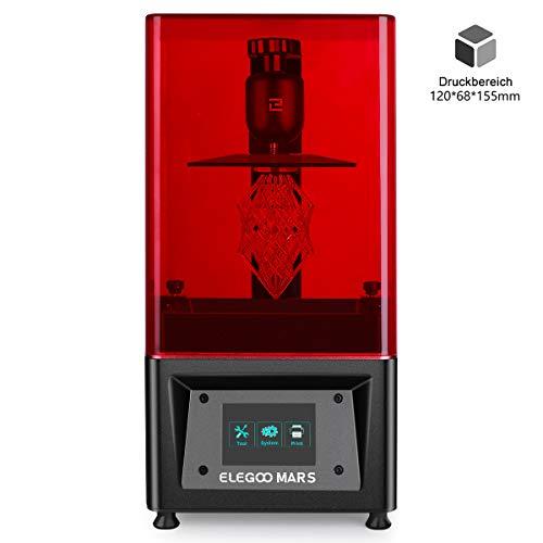 ELEGOO MARS UV LCD 3D Drucker mit 3,5 Zoll Smart Farbtouchscreen Offline-Drucken Druckbereich von 120 x 68 x 155 mm (Schwarz) - Eigene Maske Kit