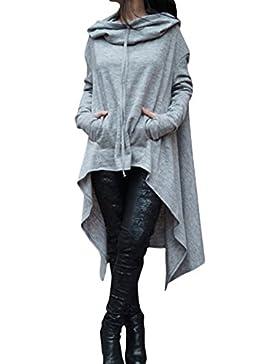 Donna Con Cappuccio Lungo Felpe Alto Basso Asimmetrico Maniche Lunga Vestito Camicetta Pullover Sweatshirt Hoodies...