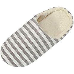 Toamen Zapatilla De Rayas Caliente De Los Hombres De Las Mujeres En El Interior Zapatos De Casa Antideslizantes del Invierno