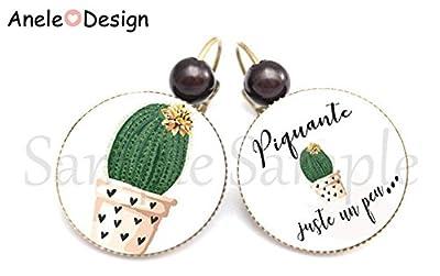 Boucles d'oreille Piquante juste un peu - perle rose vert pastel Cactus