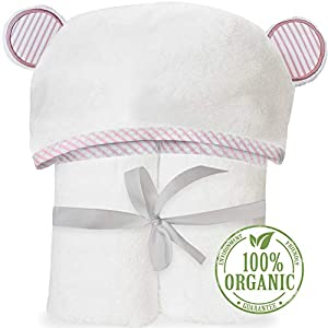 Organic Bamboo Hooded Baby Towel - Soft, Hooded Bath Towels with Ears for Babies, Toddlers - Large Baby Towel Perfect Baby Shower Gift for Boys and Girls - Pink by San Francisco Baby