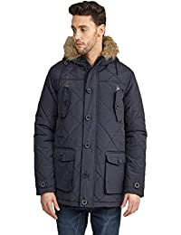 Mens Brave Soul Faux Fur Hooded Coat Padded Warm Parka Quilted Winter Jacket