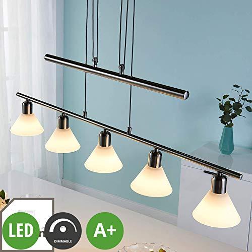 Lampenwelt LED Pendelleuchte \'Eleasa\' dimmbar (Modern) in Alu aus Glas u.a. für Wohnzimmer & Esszimmer (5 flammig, E14, A+, inkl. Leuchtmittel) - Hängeleuchte, Esstischlampe, Hängelampe, Hängeleuchte