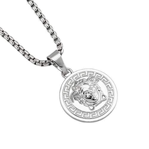 ORKST Männer und Frauen Medusa Silber Anhänger Legierung Halskette, Schmuck Zubehör, Geschenkbox 70cm