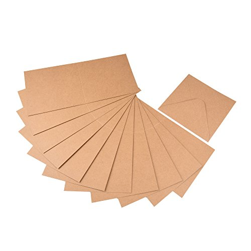 Jumbo Set, Umschläge und Faltkarten aus Naturkarton, 50 Karten + 50 Umschläge in quadratisch und DIN Lang, 100 Teile in einem Set, ideal zum Selbstgestalten - 4