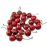 Zhichengbosi, piccole ciliegie rosse e nere, frutta artificiale, simulazione, per decorazione di casa, cucina festa, scrivania, 25pezzi