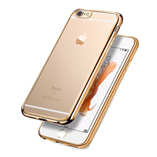 iPhone SE / 5 / 5s Coque Housse Etui, iPhone 5s Or Rose Coque en Silicone, iPhone 5s Placage Coque Clair Ultra-Mince Rose Gold Etui Housse, iPhone 5 Gel Souple Coque Transparent Housse, iPhone 5 / 5s Silicone Rose Gold Silicone Case Soft Gel Cover, Ukayfe Etui de Protection Cas en caoutchouc en Ultra Slim Souple Cristal Clair Gel TPU Bumper Cas Case Cover Coque Couverture Etui pour Apple iPhone SE / 5 / 5s + 1 X Stylet