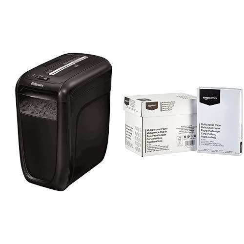 Fellowes Powershred 60Cs Partikelschnitt Aktenvernichter ((P-4) 10 Blatt, für Zuhause und das Home Office, mit patentierter SafeSense Sicherheits-Technologie) & AmazonBasics - Druckerpapier