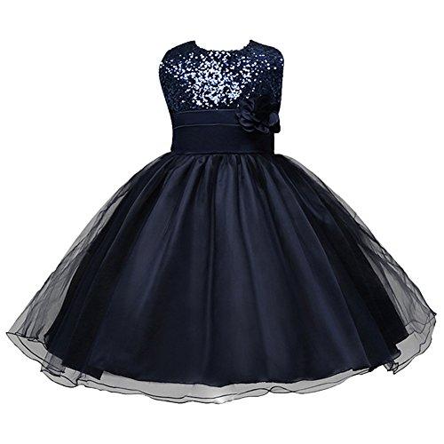 LSERVER-Kleines Mädchen Prinzessin Kostüm Paillette Blume Hochzeit Bankett Party Kleid