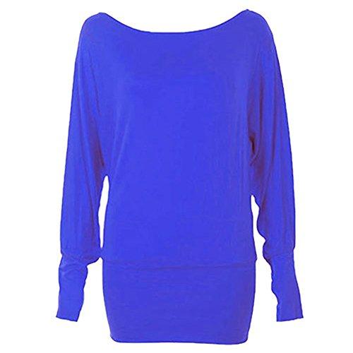 Janisramone donne Maglia top a pipistrello maniche lunghe Blu reale