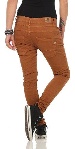 5285 Fashion4Young Damen Jeans Röhrenjeans Hose Damenjeans Boyfriend Baggy Harems Jeans umbra