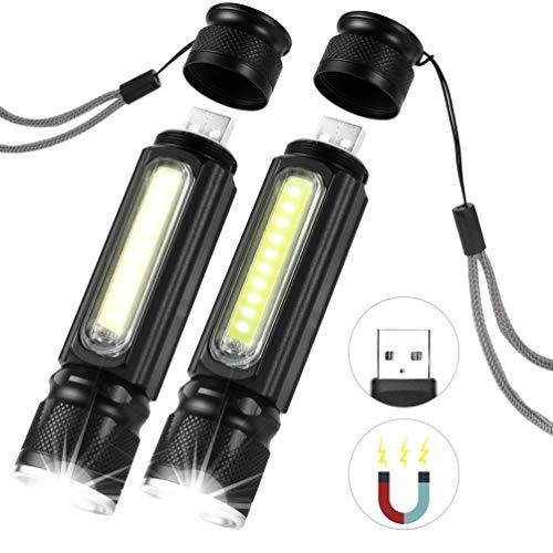 LEDGLE CREE T6 LED Taschenlampe USB Wiederaufladbare, 5 Lichtmodi, IP65 Wasserdicht, 2 stück (Cree T6 Led-taschenlampe)