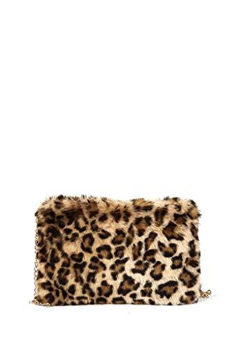 Angkorly - Handtaschen Clutches Taschen Schultertaschen Mini crossbody Tasche Tote bag Kunstpelz leopard Modern Straße Vintage/Retro para bodas y fiestas - Geschenkidee BV18298 Camel