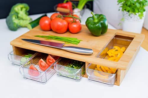 Großes Bambus-Schneidebrett mit Behältern und Schubladen - ein Holz Metzger Block mit 4 Schubladen & separater Öffnung für Gemüse, Fleisch, Obst, Brot, Käse oder Anderes. Natürlich antimikrobiell. Bambus-block