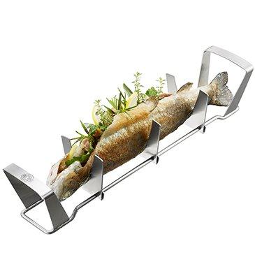 Gefu Soporte de Pescado BBQ, para Pescados a la Parrilla / Grill, Accesorio de Barbacoa, Acero Inoxidable...