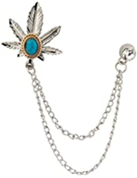 Knighthood Exclusive Silver Maple Leaf With Stone Detailing Hanging Chain Lapel Pin/Brooch For Men
