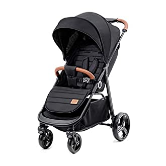 Kinderkraft Lightweight Stroller Grande, Stylish Pushchair, Baby Buggy, Foldable, Lying Position, Big Ajustable Hood, with Accessories, Rain Cover, Footmuff, from Birth to 3.5 Years, 0-15 kg, Black