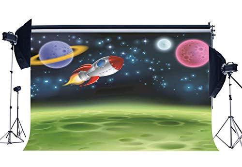 Backdrop 5X3FT Vinyl Alien Moon Rakete Schiffshintergründe Bokeh Pailletten Cartoon Fotografie Hintergrund Jungen Zimmer Tapete Kinder Geburtstag Dessert Tisch QB234 ()
