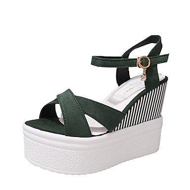 RUGAI-UE Sommer Mode Frauen Sandalen Schuhe Casual PU Komfort Heels Outdoor Wandern, Schwarz, EU/US7.5 38/UK5.5/CN 38 Green