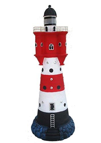 Höhe Turm (Leuchtturm rot weißer Turm XXL Höhe ca. 90 cm Ø 31 cm Solar LED Leuchtfeuer Signal Gartendekoration)