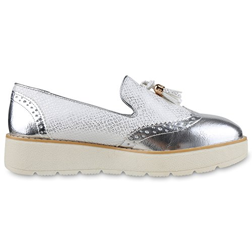 Damen Slipper Loafers Profilsohle Plateau Quasten Schuhe Metallic Silber