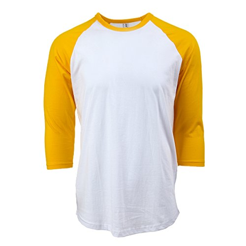 Rich Cotton Baseball T-Shirt (Weiß/Gelb, S) -