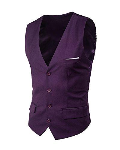 Gladiolus Herren 4 Knopf Anzugweste Freizeit Business Casual Slim Fit Weste Einfarbig Mit V-Ausschnitt Lila M