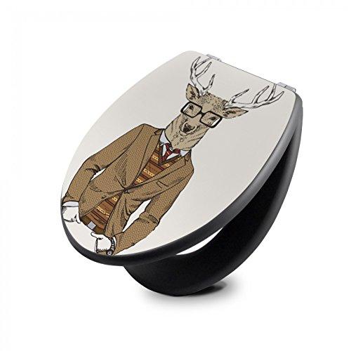 banjado Design Toilettensitz in Anthrazit | WC-Sitz Holz MDF 42,3×3,5×37,5cm | Klodeckel mit Edelstahl Scharnieren | Toilettendeckel mit Motiv Doktor Hirsch