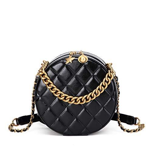 NEVEROUT Gesteppt Kreis Schulter kleine Handtasche Runde Umhängetasche für Damen Ledertaschen Damen kleine Tasche Kreisförmig (NP2333) (Black) -