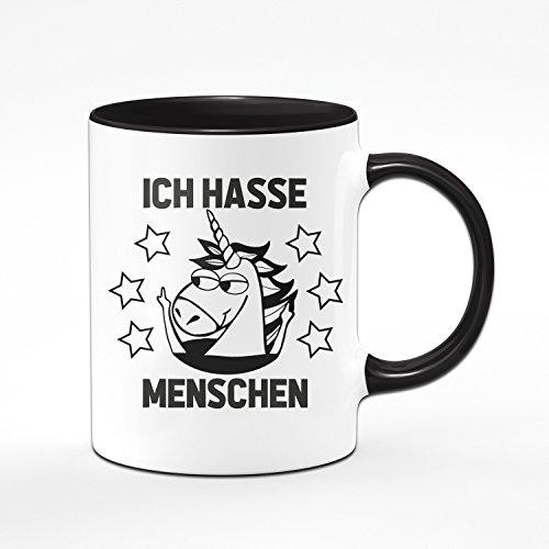 Einhorn Tasse Ich Hasse Menschen - Kaffeetasse in Schwarz - Coole Tassen mit Sprüchen für Das Büro Oder Zuhause