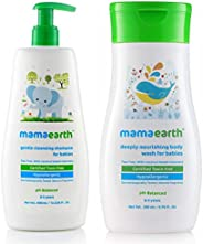 Mamaearth Gentle Cleansing Natural Baby Shampoo, 400ml (White) & Deeply Nourishing wash for Babies (200 ml