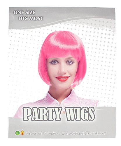 One Size Fits Most Party Bob Wig Fancy Dress Accessory -Hot Pink