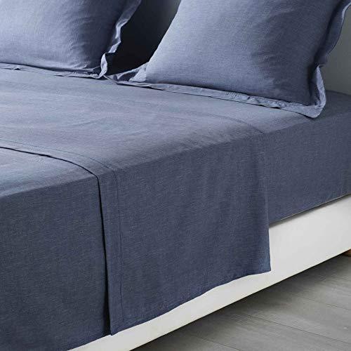 Douceur d'Intérieur Actually Bettlaken, für 1 Personen, Polyester, 180 x 290 cm, Blau