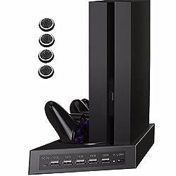 VICKMALL PS4 Vertikaler Standfuß Kühler Lüfter mit DualShock 4 Ladestation für PlayStation 4 & Playstation 4 Slim PS4 Controller und 5 USB HUB Port 1 DC 5V Port 4 Thumbstick,2 in 1 ps 4 zubehör,es ist Nicht für PS4 Pro
