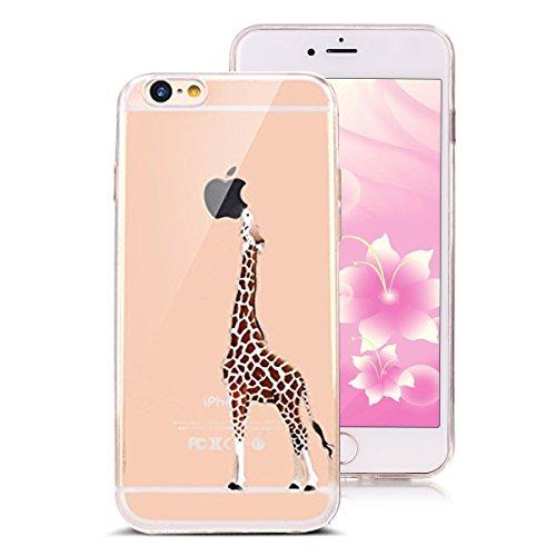iPhone 6S Cover,iPhone 6 Custoida,KunyFond Cover Custodia per iPhone 6/6S 4.7 in Silicone Diamante Bling Glitter Custodia Cover Moda Lusso Orso Bello Lovely Specchio con Anello Supporto Scintilla Scin giraffa