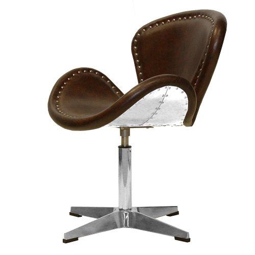 Phoenixarts Vintage Echtleder Sessel Retro Ledersessel Braun Design Drehsessel Lounge Clubsessel Möbel 437