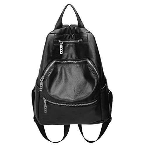 Yuncai Mode Rucksack für Damen Retro Freizeit Backpacks Handtasche Schwarz
