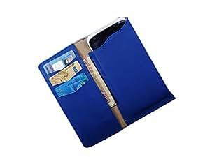 ATV PU Leather STEEL BLUE Pouch Case Flip Cover For Motorola Moto E (2nd gen)