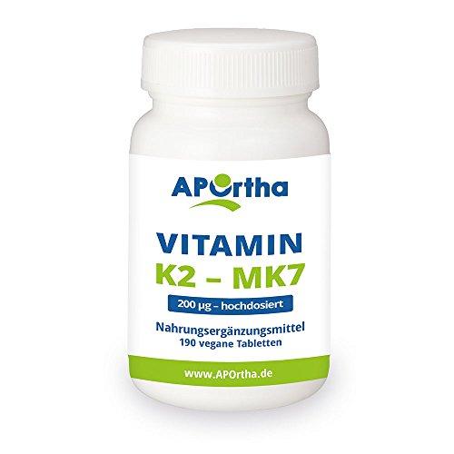 APOrtha Natto Vitamin K2 | Menaquinon MK7 | 200 µg |hochdosiert | 190 vegane Tabletten | 95+% All-Trans Menaquinon 7
