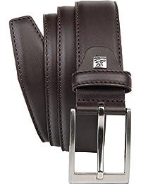 LINDENMANN Mens leather belt / Mens belt, leather belt curved XL, 2 Colors, black / dark brown
