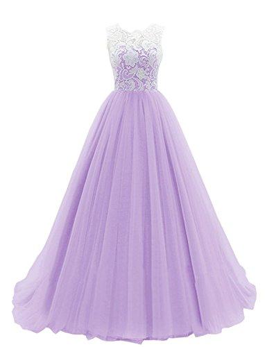 JAEDEN Ballkleider Abendkleider Damen Hochzeitskleider Lang Brautjungfernkleid Tüll Spitze Lavendel...