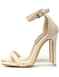 GLTER Mujeres Ankle Strap Bombas Verano Nuevo Plain Solid Color Palabra Hebilla Tacones Altos Sandalias Zapatos Zapatos Court Albaricoque Negro , apricot , 40