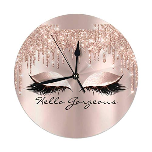 Rose Gold Glitter Glam Makeup Lashes Sleep Wall Clock Silent & Non-Ticking Quartz Clock PVC for Home Office School Decorative Round 9.8'