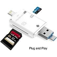 3 in 1 Lightning iReader lettore di schede SD,TUOYA Lightning SD e Micro SD Card alta velocità Reader adattatore OTG iOS dispositivo per iPhone 7/5/5S/6/6S iPad & computer e Android