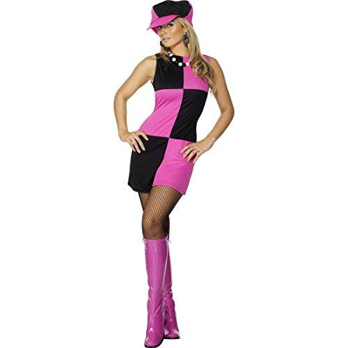 isco Damenkostüm schwarz pink S 36/38 Pop Art Kleid Tanzkostüm 60er Outfit (Disco-tanzkostüme)