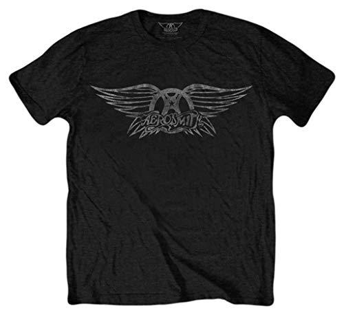 Aerosmith Vintage Logo Negro Camiseta Oficial Con licencia Music
