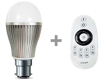t l commande wi fi b22 ampoule led blanc 9w starter pack dimmable ba onnettes b22 avec. Black Bedroom Furniture Sets. Home Design Ideas