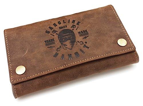 Vintage Biker Wallet Geldbörse original GASOLINE BANDIT® aus Echtleder mit Kette -
